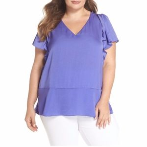 NEW Michael Kors Double Ruffle Hammered Satin Top